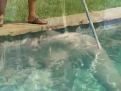 milf fucks a young man by the pool