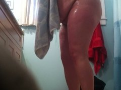 Hidden Cam Wife getting out of Shower