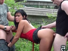 PUBLIC sex orgy with PRETTY brunette Part 5
