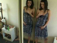 Vanessa masturbates standing in front of mirror homevideo