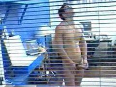 Horny latin Jock masturbates, showers