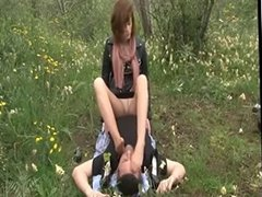HIGH HEELS NYLON WORSHIP IN COUNTRYSIDE
