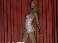 3d redhead in white lingerie teasing