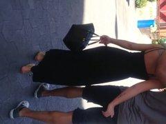 Asian thong in see thru black dress