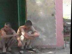 Russian military naked sauna