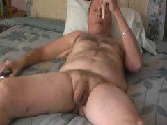 Grandpa jerk and cum in his bed