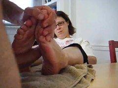 Cute Nerdy Girl in glasses Footjob 2