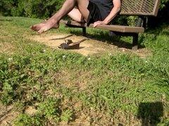 park bench crossdresser