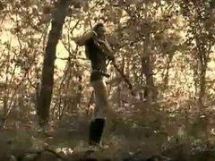 Italian woman in woods