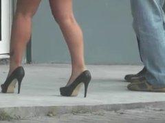 brune sexy legs heels