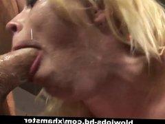 Slutty blonde cutie Adrianna Nicole gets facefucked