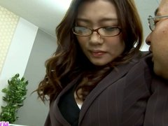 Sexy office chick bending over and fucked hardcore by her bo