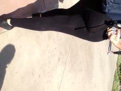 Mexican ass in see thru black leggings