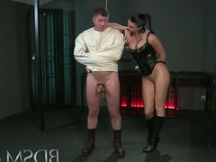BDSM XXX Slave boy in straight jacket and anal hook swings
