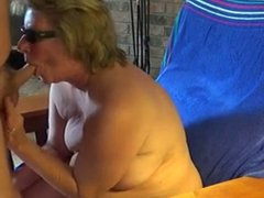 Granny Head #23 (Sitting on the chair while giving a BJ)