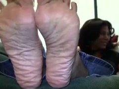 Ebony mature has wrinkly soles