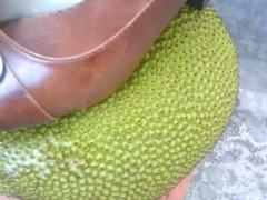 Cumshot on heel, shoe. Wife's heels, shoes on the jackfruit