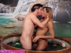 Tight ass shemale barebacked in a hot tub