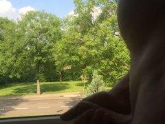 Flashing naked in window.