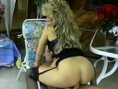 Blonde slut in stockings and stilettos