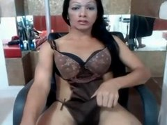 Asian Tranny plays with her cock clitty