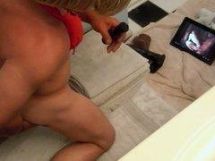 pauline dildos herself on the bathroom floor!