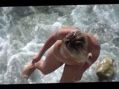 Voyeur on public beach.Sexual games