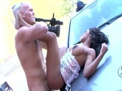British slut Kiki gets fucked in and out of the car