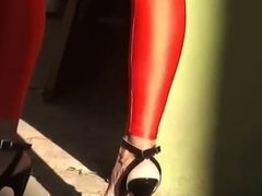 mom in red leggings