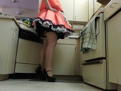 Sissy  Ray in Bronze Sissy Dress in Kitchen (Black Panties)