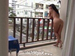 Nude on the hotel balcony