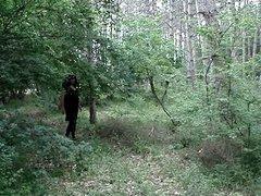 crossdresser in the woods