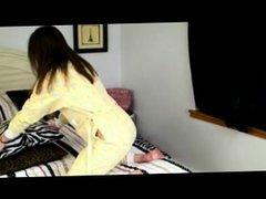 Girl in pajamas got punishment