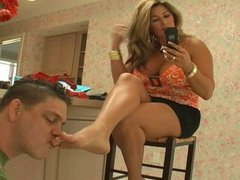 Step-mom has her feet cleaned after shopping