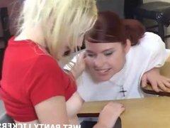Cute teen schoolgirls inspecting each other's panties