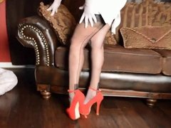Samantha Legs' legs in Secrets In Lace stockings and heels
