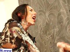 Euro lesbos have messy fun at gloryhole