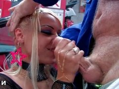 French bitch gets her ass hammered in a garage