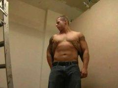 Barebacking a muscular boy at work