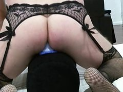 Riding my buttplug in new suspenders and stockings