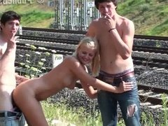 TEENS PUBLIC orgy by a railway Part 1