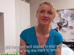 Euro girlnextdoor flashes her tits for cash