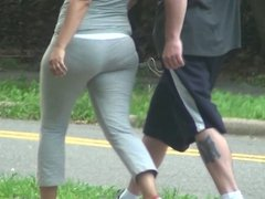 Sexy Pawg In Grey Spandex Jogging Spanking