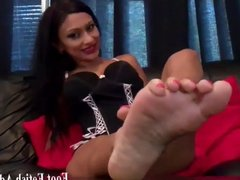 Worship redhead Kendra's feet in high heels