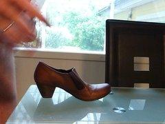 Cum in wifes brown work shoe