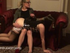 Angry Student Spanks Another Student in Stockings