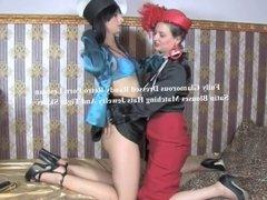 Full Dressed Lesbian In Elegant Satin Blouses
