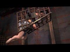 Short haired slavegirl in dungeon