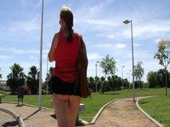 Micro skirt no panties in public park