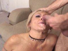 Mature Blonde Whore Sucks Cock
